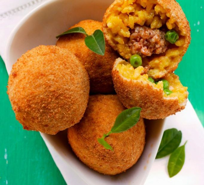 Sicilian Arancine with ragout and peas