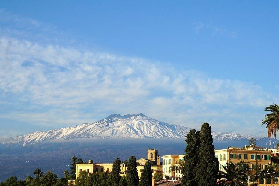 The volcano Etna covered with snow