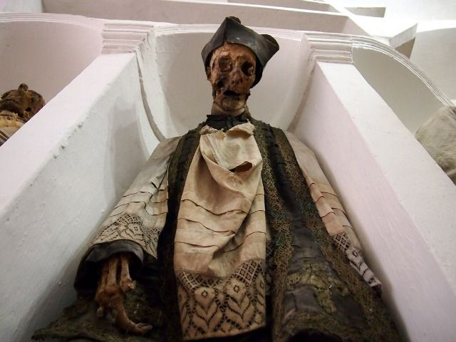 Crypt of the dead priests: close-up of one of the mummies