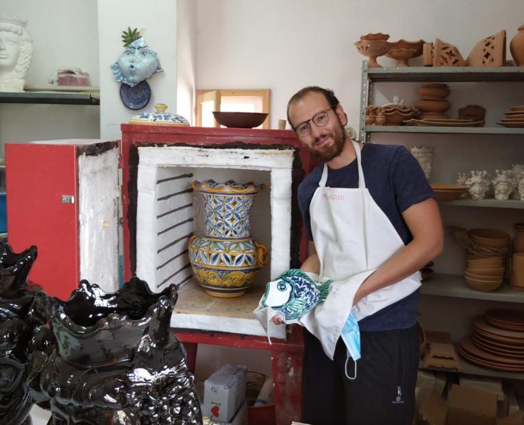 Maurizio and his ceramic works