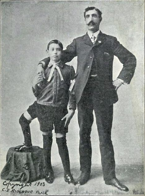 Frank Lentini as a child with his father